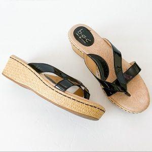 b.o.c. black patent sandle with woven platform